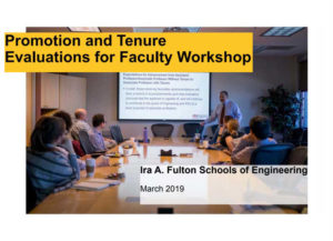 Spring 2019 Promotion and Tenure Evaluations for Faculty Workshop slides cover